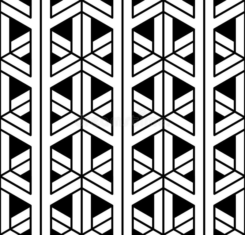 Vector modern seamless sacred geometry pattern 3d, black and white abstract vector illustration