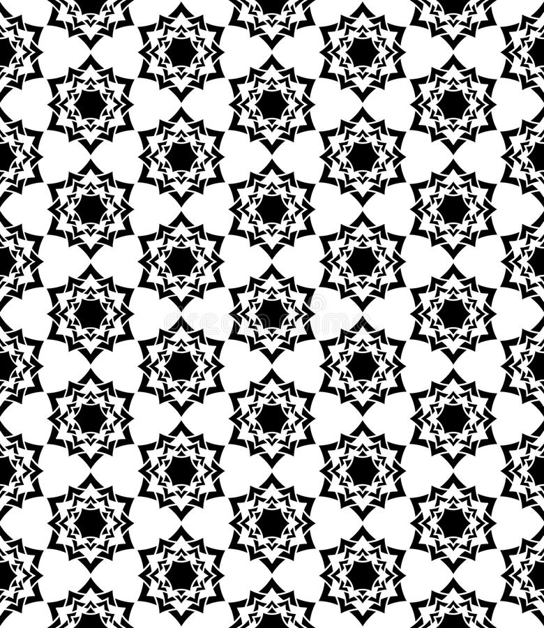 Vector modern seamless sacred geometry pattern floral, black and white abstract vector illustration