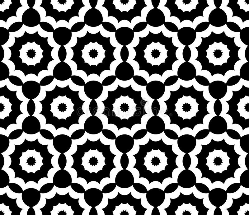 Vector modern seamless sacred geometry pattern floral, black and white abstract royalty free illustration