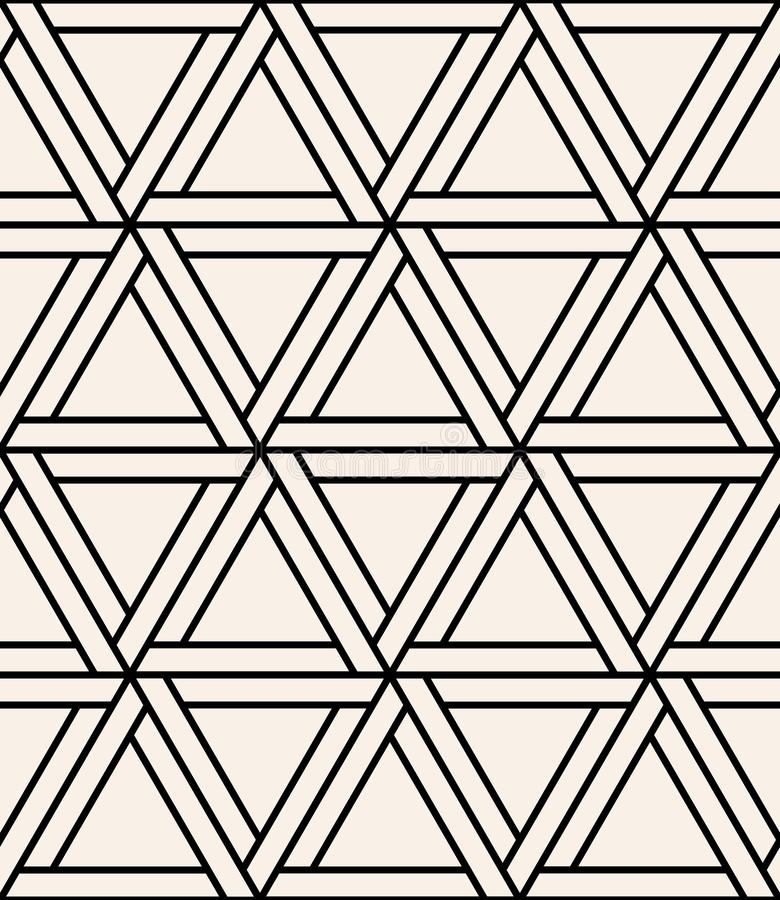 Vector modern seamless sacred geometry pattern hexagon, black and white abstract royalty free illustration