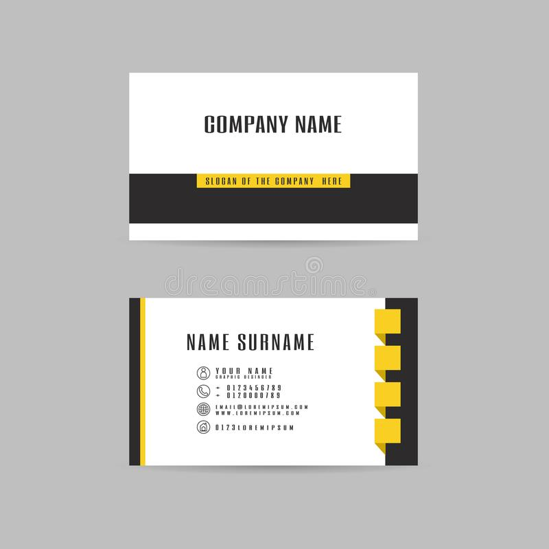 Vector Modern simple light business card yellow template with fl vector illustration