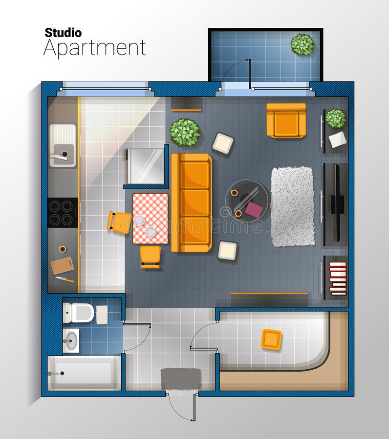 Vector modern studio apartment top view illustration. Vector top view illustration of modern and comfortable studio apartment with furniture. Detailed royalty free illustration