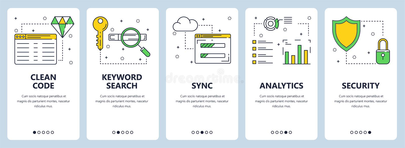 Vector modern thin line clean code concept web banner set stock illustration