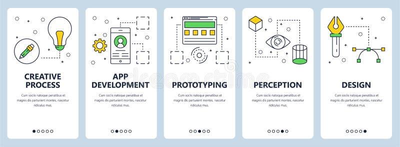 Vector modern thin line creative process concept web banner set stock illustration