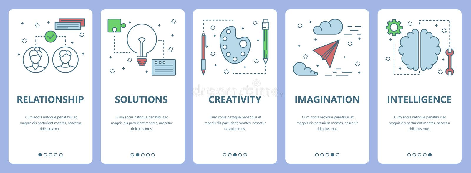 Vector modern thin line flat design psychology concept vertical banners. Vector set of vertical banners with Relationship, Solutions, Creativity, Imagination royalty free illustration