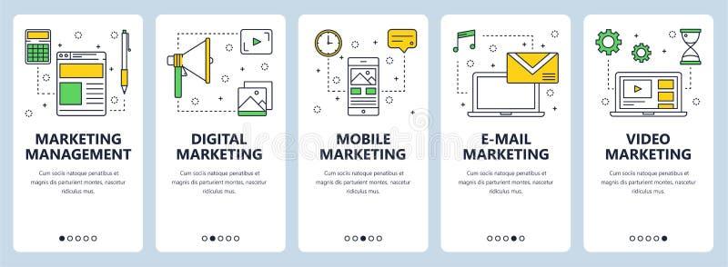 Vector modern thin line marketing management concept web banner set vector illustration