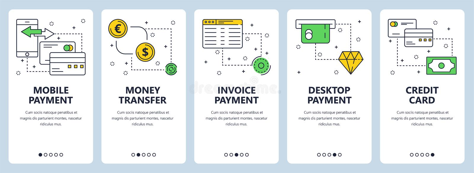 Vector modern thin line payment vertical web banner set royalty free illustration