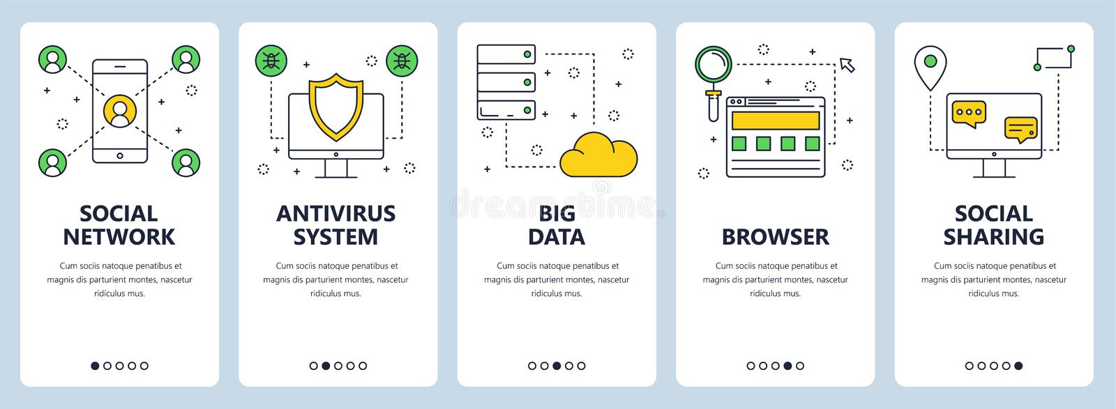 Vector modern thin line social network concept banner set. Vector set of vertical banners with Social network, Antivirus system, Big data, Browser, Social stock illustration