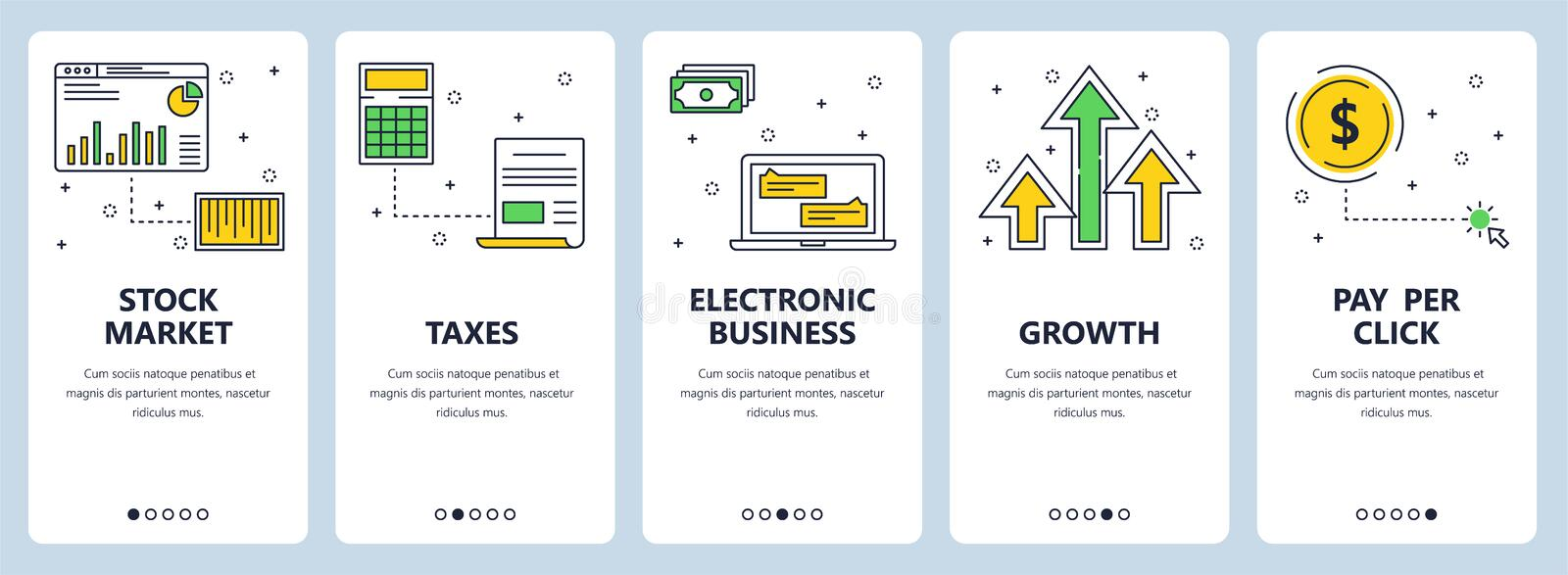 Vector modern thin line stock market vertical web banner set vector illustration