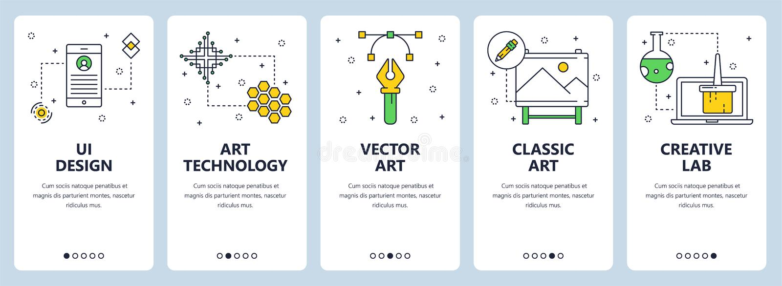 Vector modern thin line ui design vertical web banner set royalty free illustration