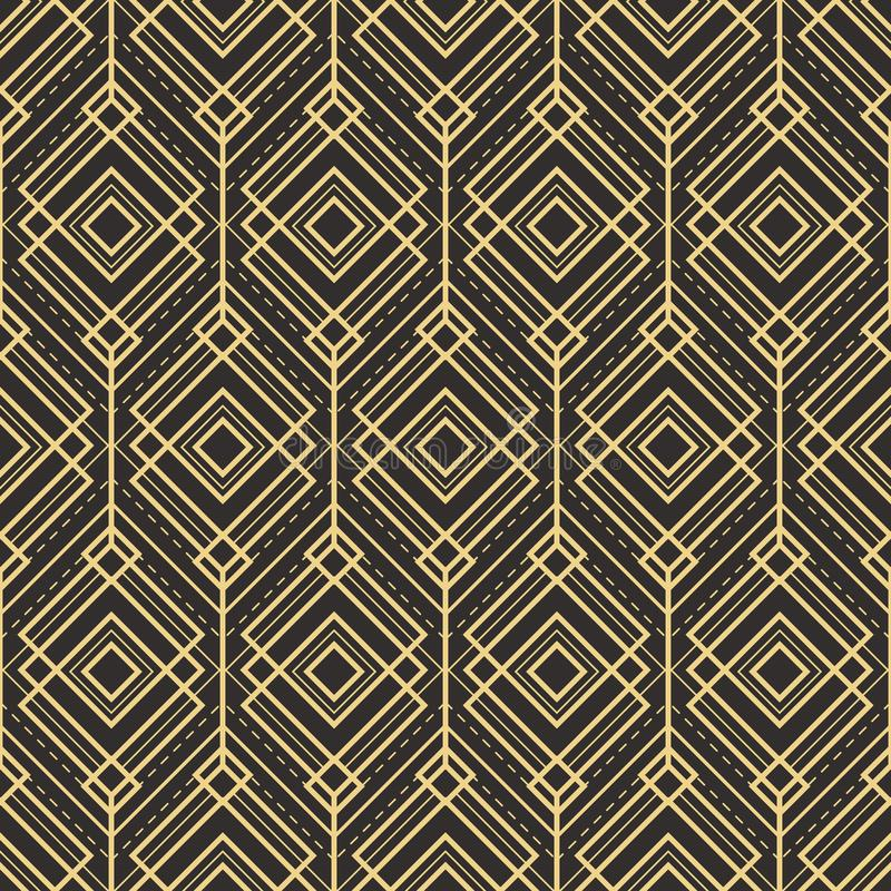 Abstract art deco pattern background tiles. Vector modern tiles pattern. Abstract art deco seamless monochrome background royalty free illustration
