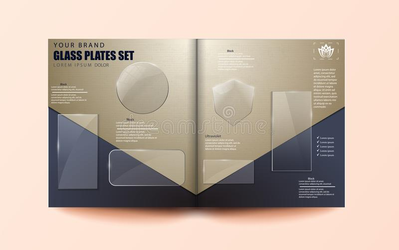 Vector modern transparent glass plates set on open journal background. Eps10 - stock vector vector illustration