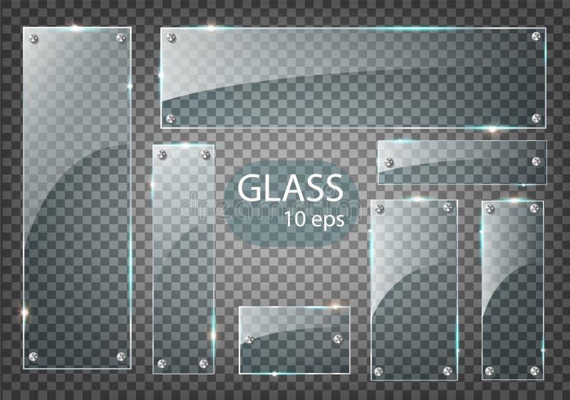 Vector modern transparent glass plates set on sample background. Eps10 royalty free illustration