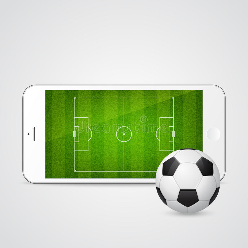 Vector modern white smartphone with a soccer ball vector illustration