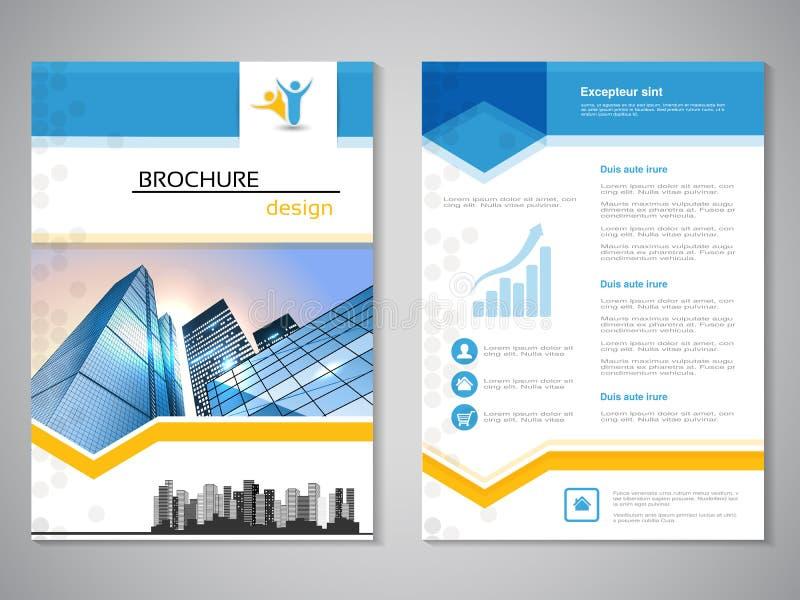Vector moderne brochure, abstracte vlieger met achtergrond van gebouwen De scène van de stad Lay-outmalplaatje Voor A4 grootte Af vector illustratie