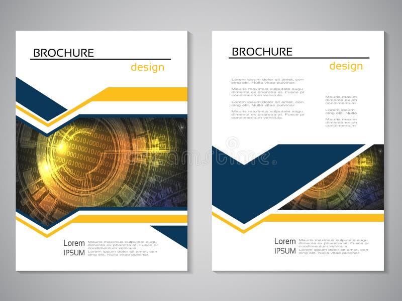 Vector moderne brochure, abstracte vlieger met technologieachtergrond Lay-outmalplaatje Aspectverhouding voor A4 grootte De affic vector illustratie