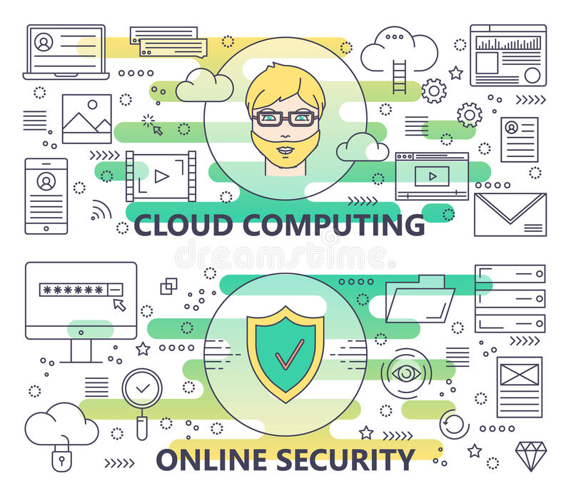 Vector moderne dünne Linie Wolke Datenverarbeitung und on-line-Sicherheitsfahnen lizenzfreie abbildung