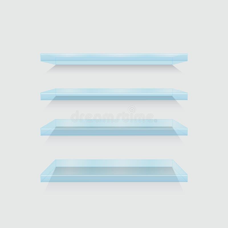 Vector moderne die shelfs op grijs wordt geplaatst vector illustratie