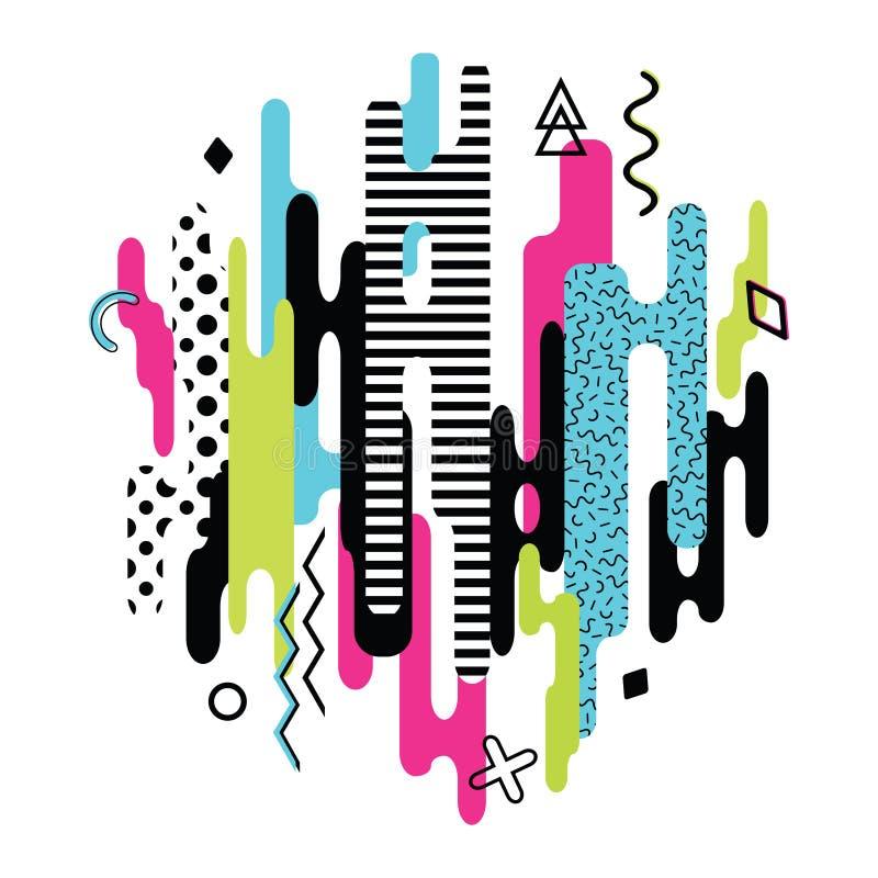 Vector moderne dynamische die samenstelling van diverse rond gemaakte vormen wordt gemaakt stock illustratie