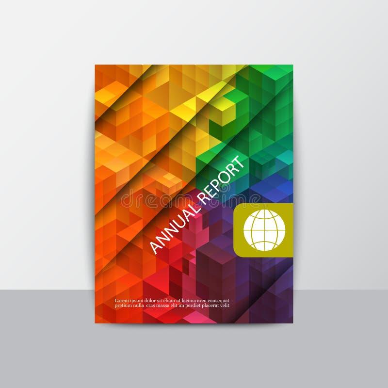 Vector moderne geometrische jaarverslagdekking Moderne bedrijfsbrochure Abstracte achtergrond met jaarlijkse kleurendriehoeken, stock illustratie