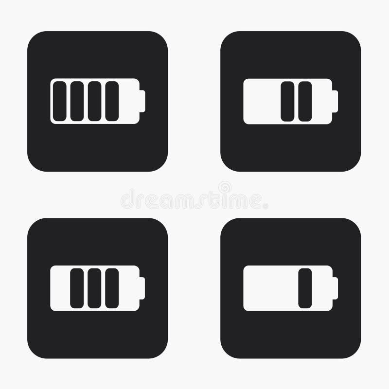 Vector moderne geplaatste batterijpictogrammen vector illustratie