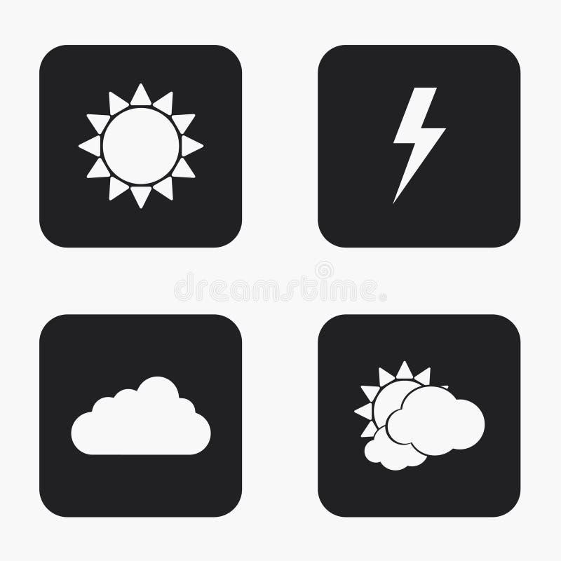 Vector moderne geplaatste weerpictogrammen stock illustratie