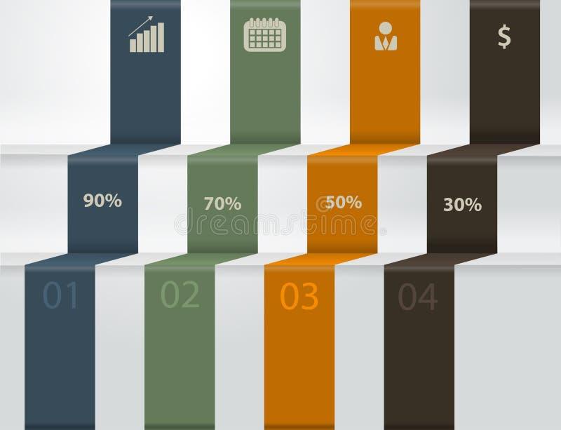 Vector moderne Geschäftsschritte zu den Erfolgsdiagrammen und lizenzfreie abbildung