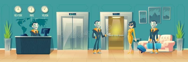 Vector moderne hotelontvangst met de robotdienst vector illustratie