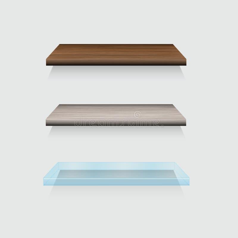 Vector moderne houten en het glas shelfs plaatst op grijs vector illustratie