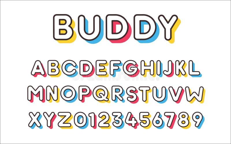 Vector moderne koele gewaagde doopvont met kleurrijke in schaduwen Geplaatst alfabet en aantallen stock illustratie