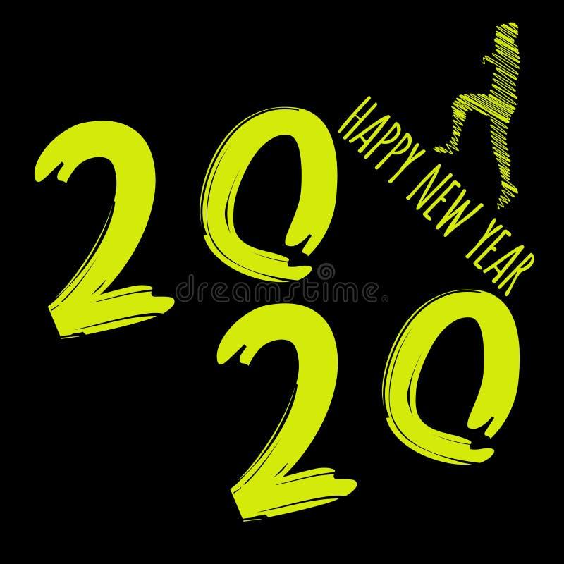Vector moderne minimalistic guten Rutsch ins Neue Jahr-Karte für 2020 mit großen hauptsächlichzahlen und einen Läufer - dunkle Ve vektor abbildung