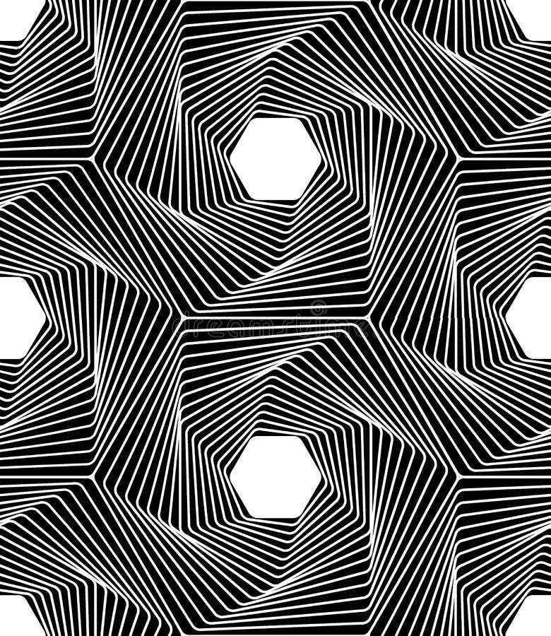 Vector moderne naadloze de lijnkunst van het meetkundepatroon, zwart-witte samenvatting stock illustratie