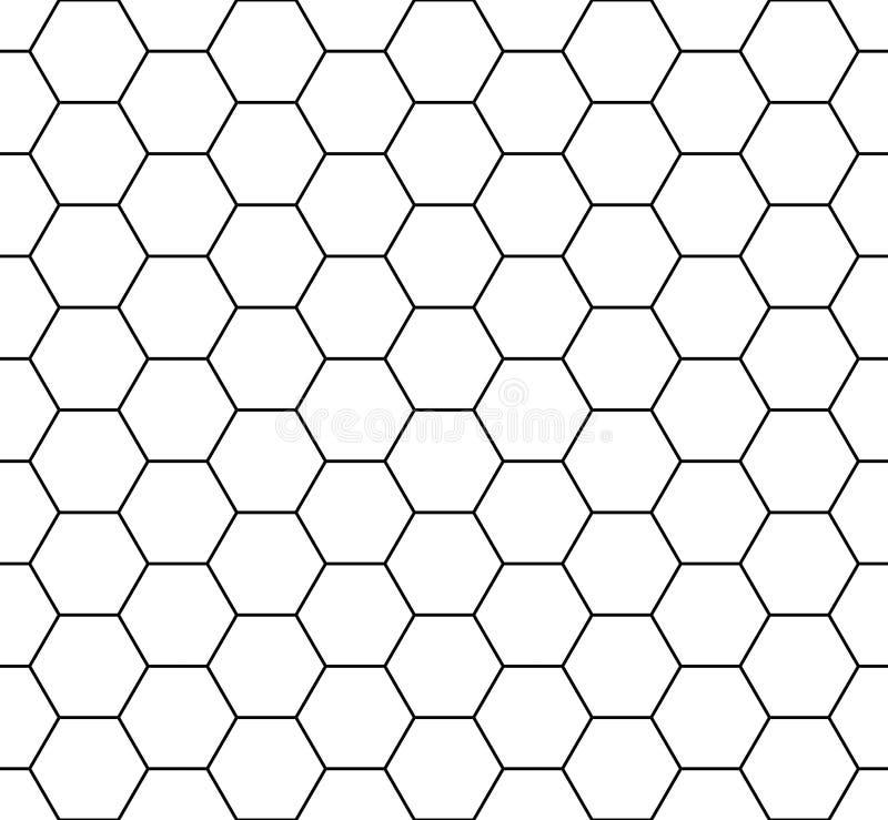 Vector moderne naadloze hexagon, zwart-witte de honingraatsamenvatting van het meetkundepatroon royalty-vrije illustratie