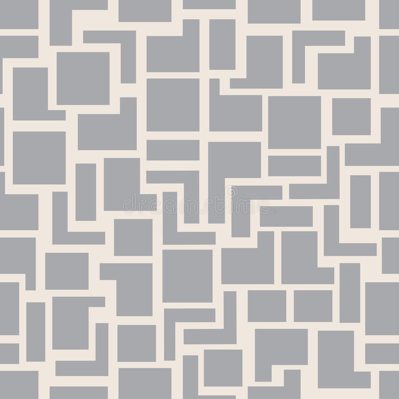 Vector moderne nahtlose Geometriemusterquadrate, grauen abstrakten geometrischen Hintergrund, einfarbige Retro- Beschaffenheit vektor abbildung