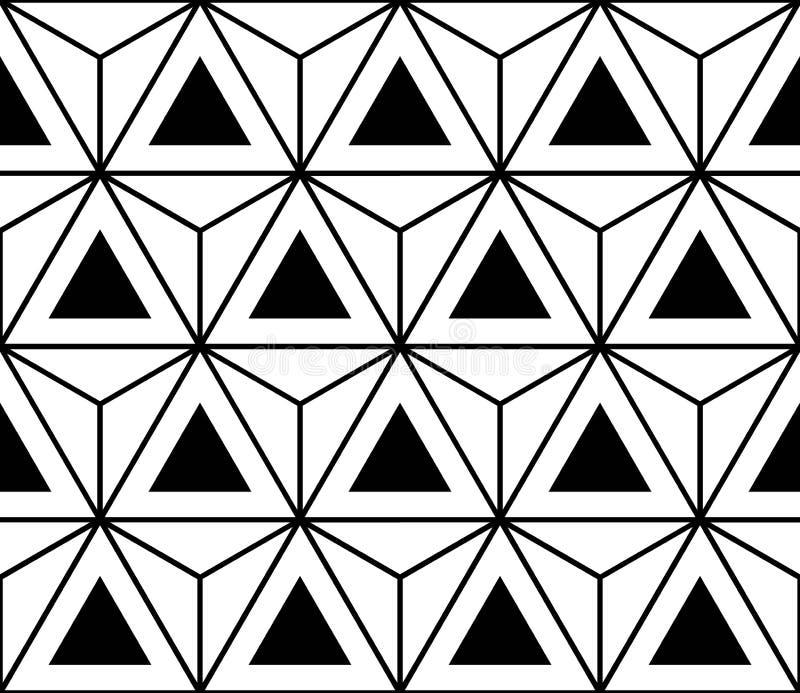 Vector moderne nahtlose heilige Geometriemuster-Hexagondreiecke, Schwarzweiss-Zusammenfassung stock abbildung
