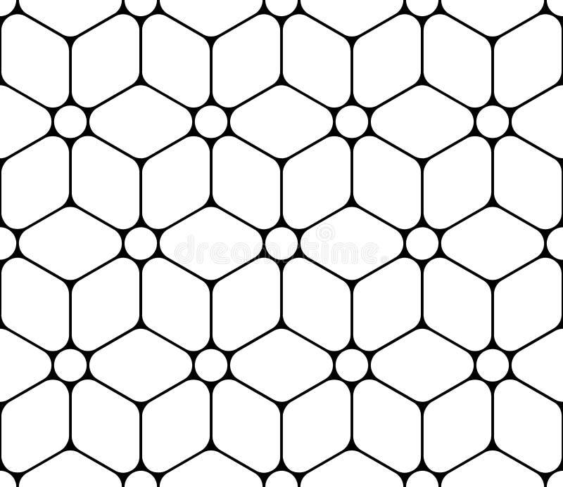 Vector moderne nahtlose heilige Geometriemusterblume des Lebens, Schwarzweiss-Zusammenfassung stock abbildung