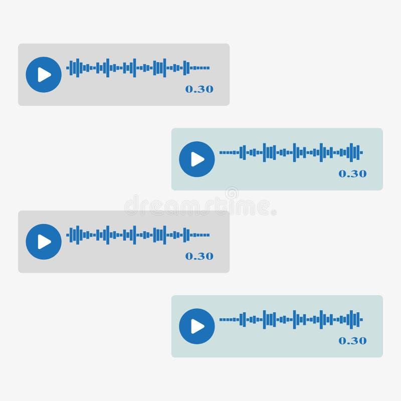 Vector moderne sms of de pictogrammen van het stembericht De reeks van de bellentoespraak royalty-vrije illustratie