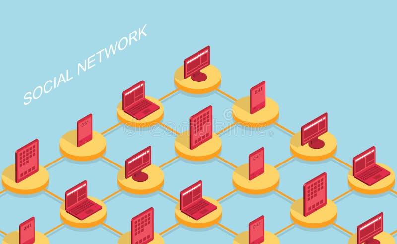 Vector moderne sociale netwerk vlakke achtergrond royalty-vrije illustratie
