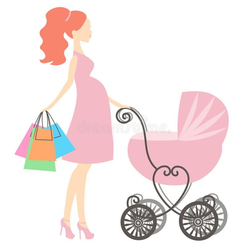 Vector moderne zwangere mama met roze uitstekende kinderwagen, vrouw het winkelen online opslag, embleem, silhouet, stock illustratie