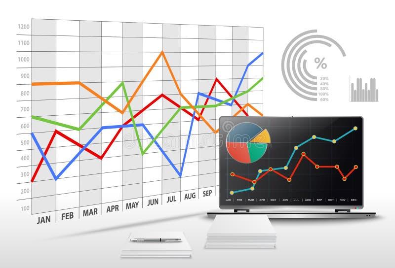 Vector modernes Büro mit kommerziellen Daten und Finanzbuchhaltung lizenzfreie abbildung