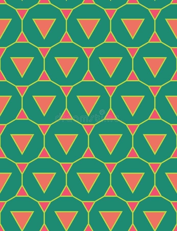 Vector modernes nahtloses buntes Geometriemuster-Dreieckpolygon, Farbgrüne rosa Zusammenfassung lizenzfreie abbildung