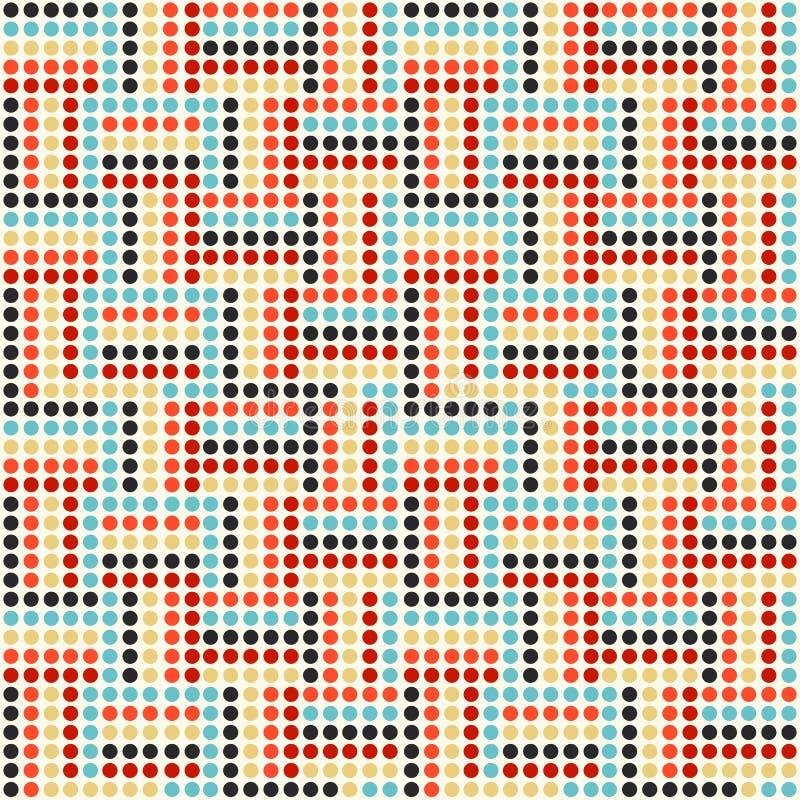 Vector modernes nahtloses buntes Punktmuster, geometrischen Hintergrund der Zusammenfassung, Tapetendruck, Retro- Beschaffenheit stock abbildung