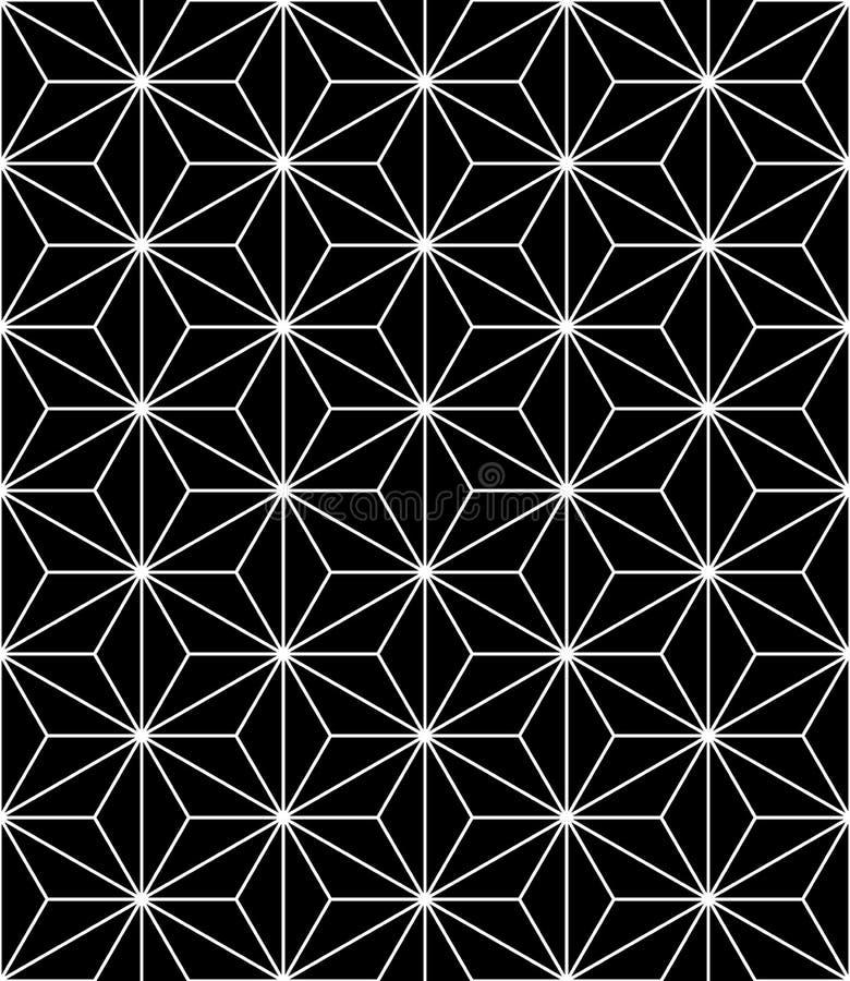 Vector modernes nahtloses heiliges Geometriemuster, Schwarzweiss-Zusammenfassung