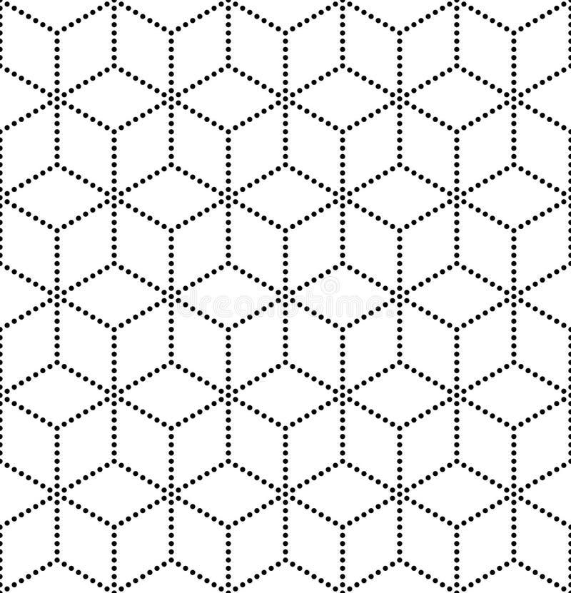 Vector modernes nahtloses heiliges Geometriemuster, Schwarzweiss-Zusammenfassung stock abbildung
