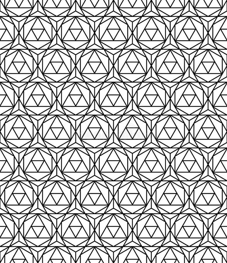 Vector modernes nahtloses heiliges Geometriemusterhexagon, Schwarzweiss-Zusammenfassung vektor abbildung