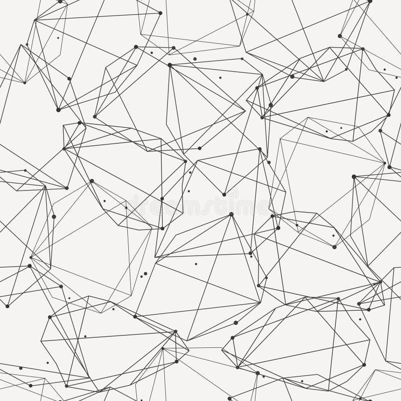 Vector modernes nahtloses Muster mit Linien und Kreisen stock abbildung