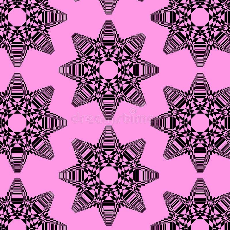 Vector modernes wiederholendes Muster mit verwickelten abstrakten schwarzen Formen lizenzfreie abbildung
