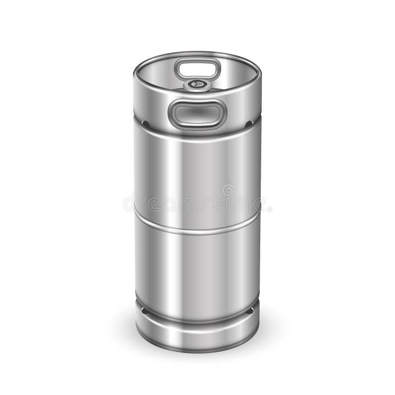 Vector moderno del barril del barrilete de la bebida del metal de Chrome stock de ilustración