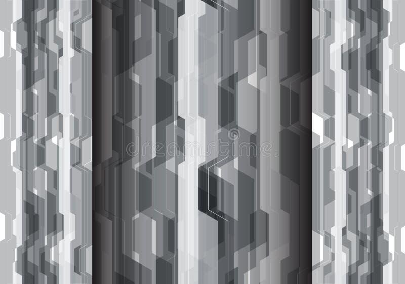 Vector moderno del fondo del polígono del diseño futurista gris abstracto de la tecnología libre illustration