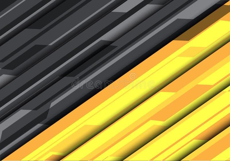 Vector moderno del fondo del polígono del diseño futurista gris amarillo abstracto de la tecnología stock de ilustración
